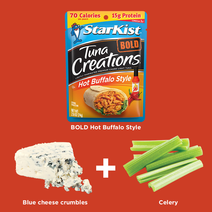 Tuna Creations BOLD Hot Buffalo Style + Blue cheese crumbles + Celery