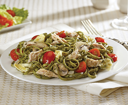 Basil Pesto Pasta with Tuna