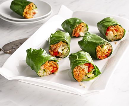 Collard Green Red Curry Tuna Wraps