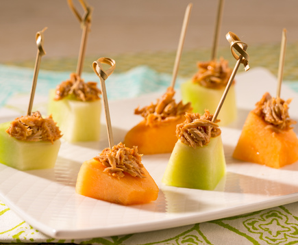 Spicy Melon Bites with Tapatio