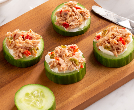 Cucumber Rounds with Jalapeño Tuna