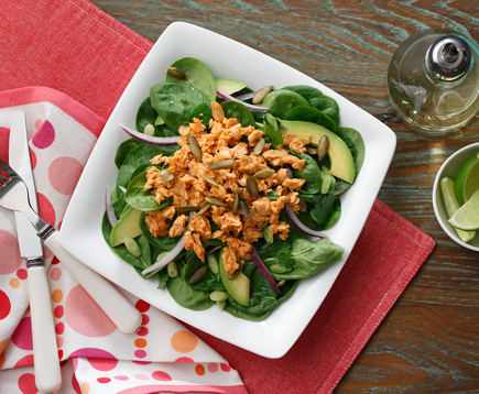 Mango Chipotle Salmon Spinach Salad