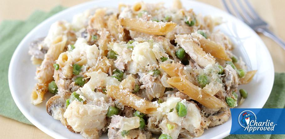 Hungry Girl's Cheesy Garlic Tuna Pasta Bake
