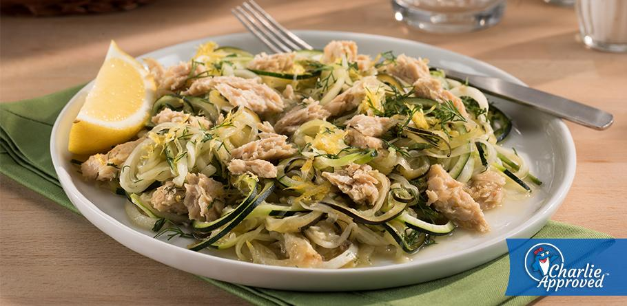 Lemon Dill Zoodles and Salmon