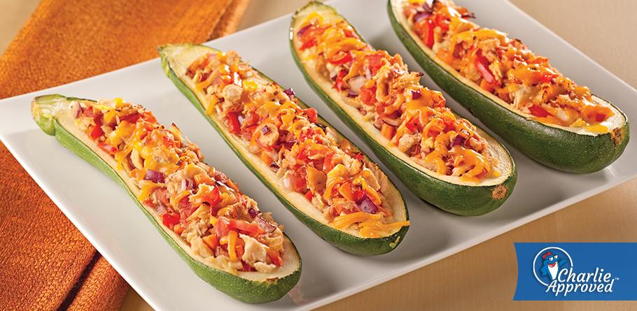 Zucchini Boats Stuffed with Albacore and Fresh Vegetables