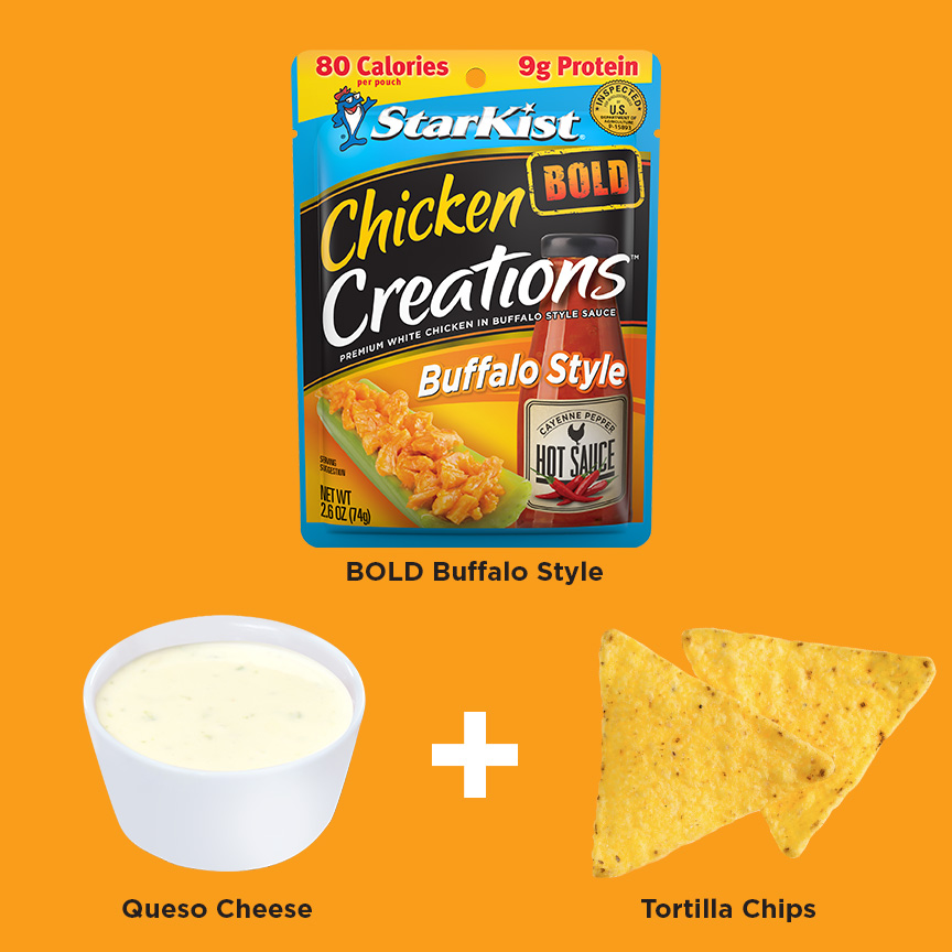 BOLD Buffalo + Baby Bell Cheese + Tortilla Chips