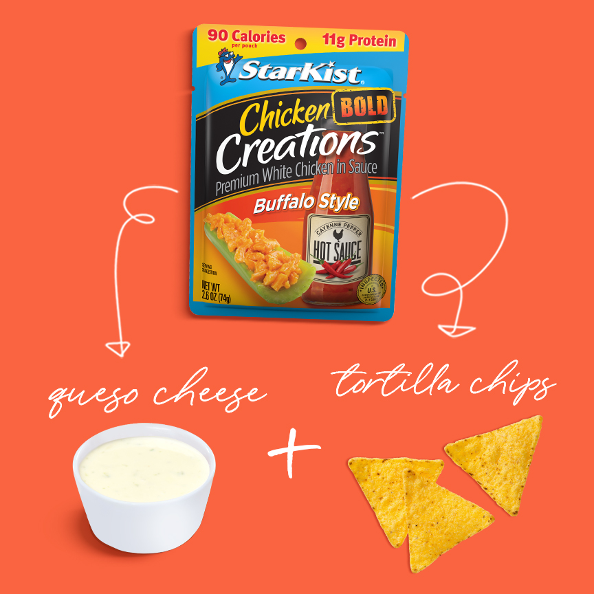 Chicken Creations BOLD Buffalo+ queso cheese+tortilla chips