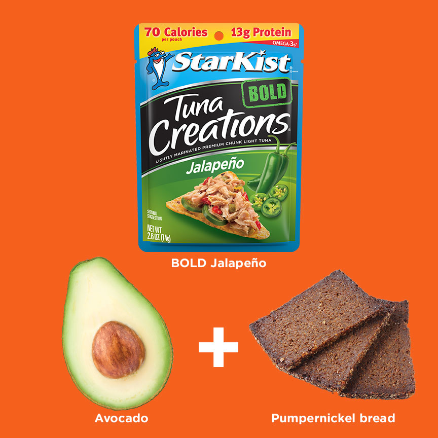 Tuna Creations® Bold Jalapeno + Avocado + Pumpernickel Bread